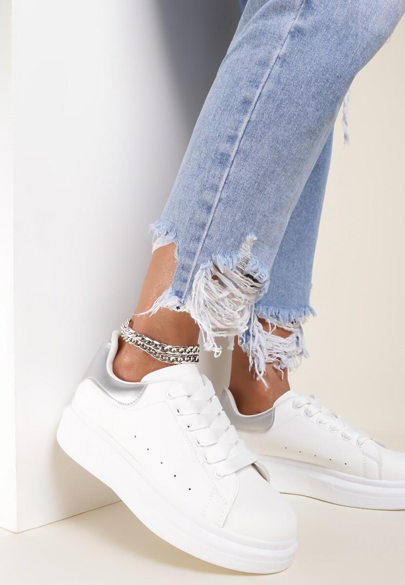 Biało-Srebrne Buty Sportowe Aelistae