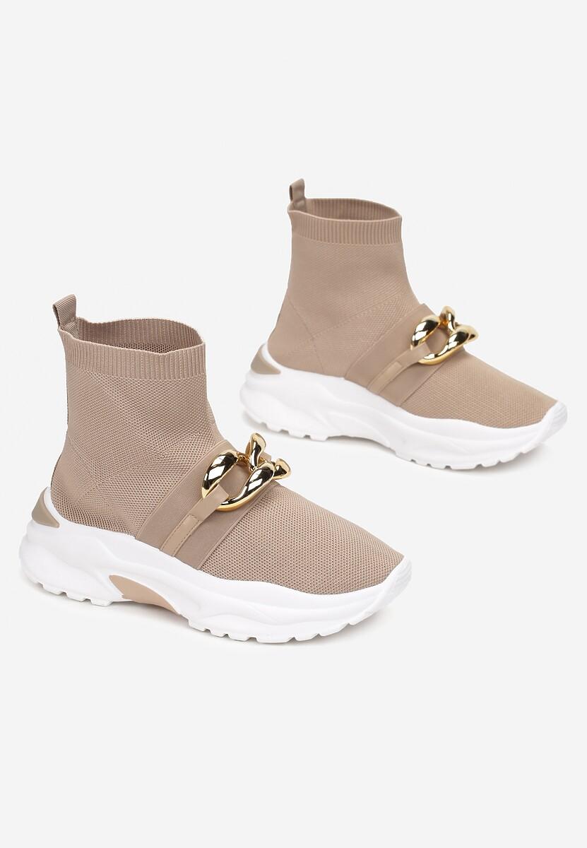 Ciemnobeżowe Sneakersy Bostyl