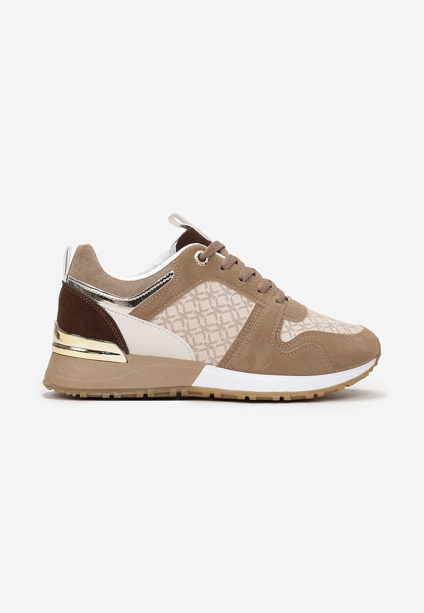 Ciemnobeżowe Sneakersy Hiamoscea