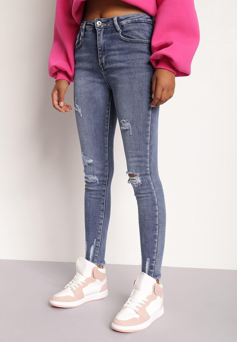 Niebieskie Jeansy Skinny Rozis