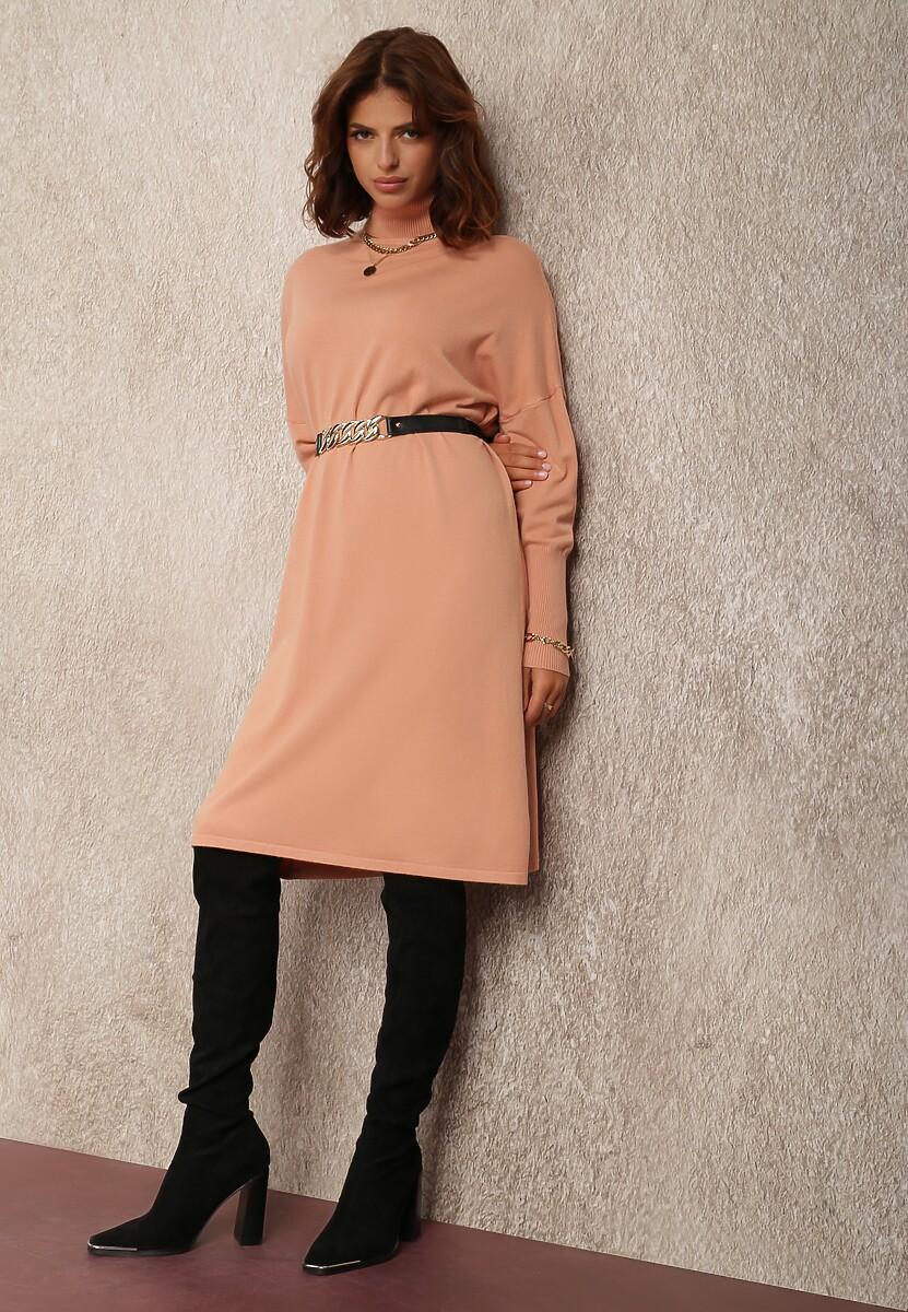 Różowa Sukienka Dzianinowa Hollywillow