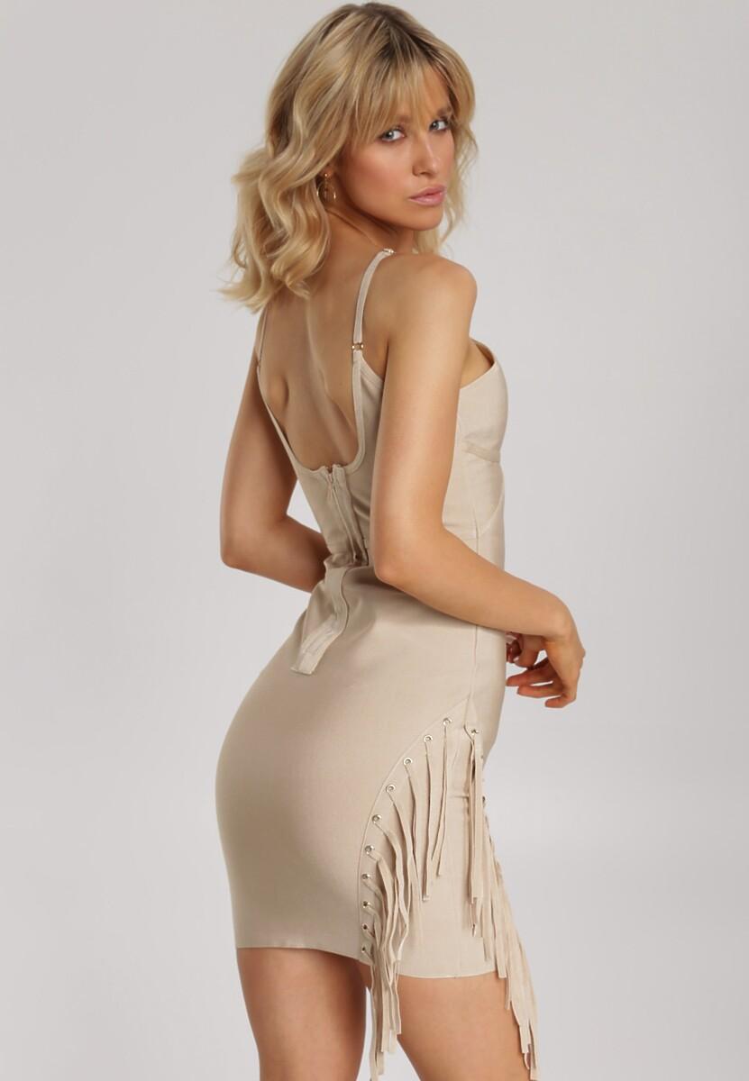 Beżowa Sukienka Orimoni