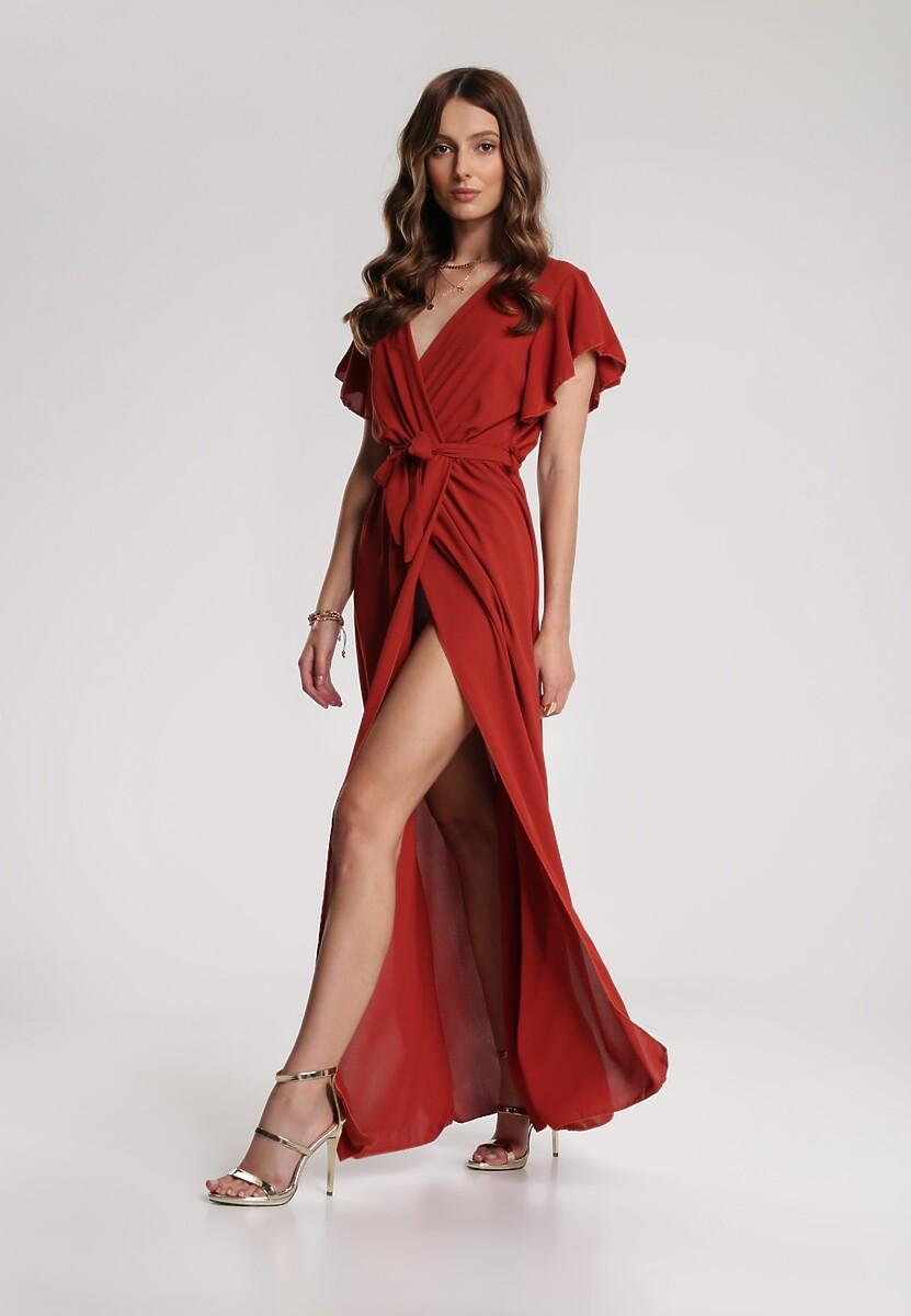 Bordowa Sukienka Idaria