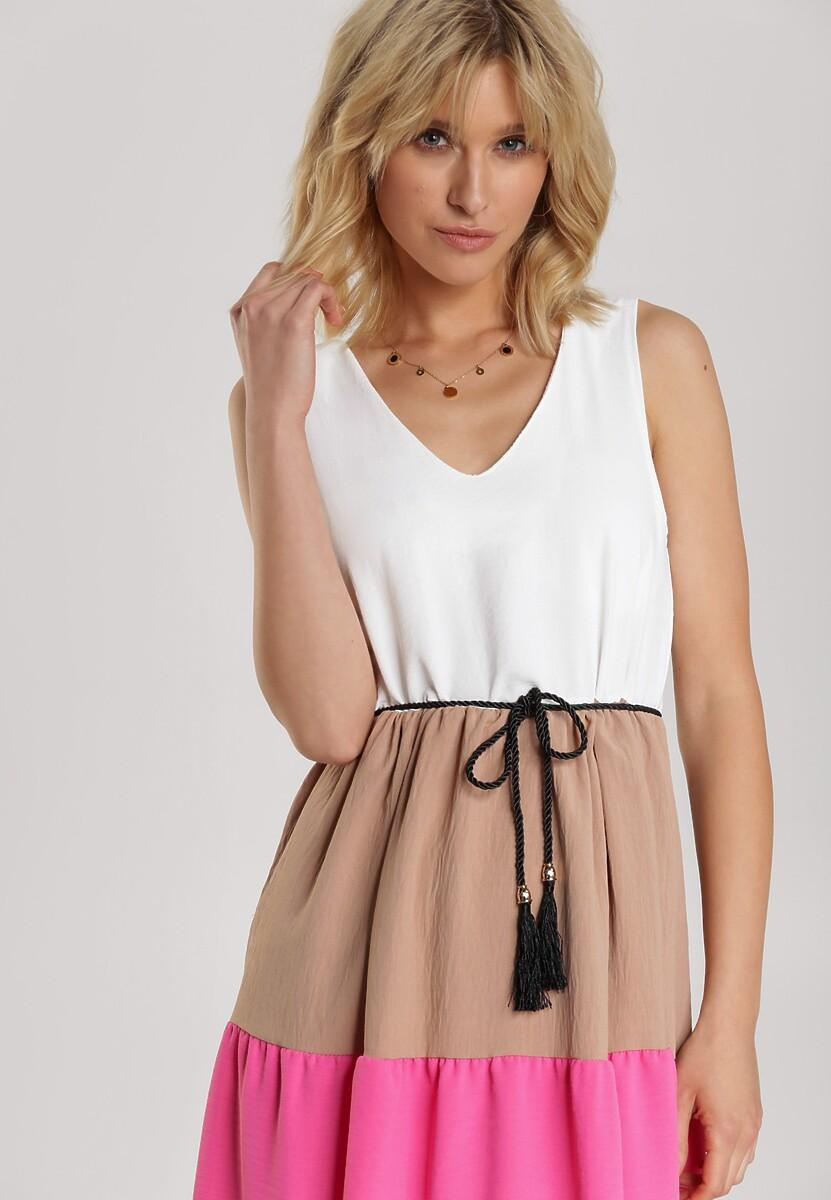 Biało-Różowa Sukienka Kyria
