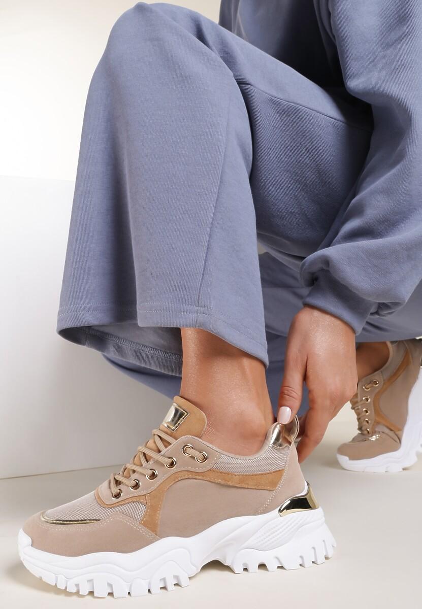 Ciemnobeżowe Sneakersy Azaerixis