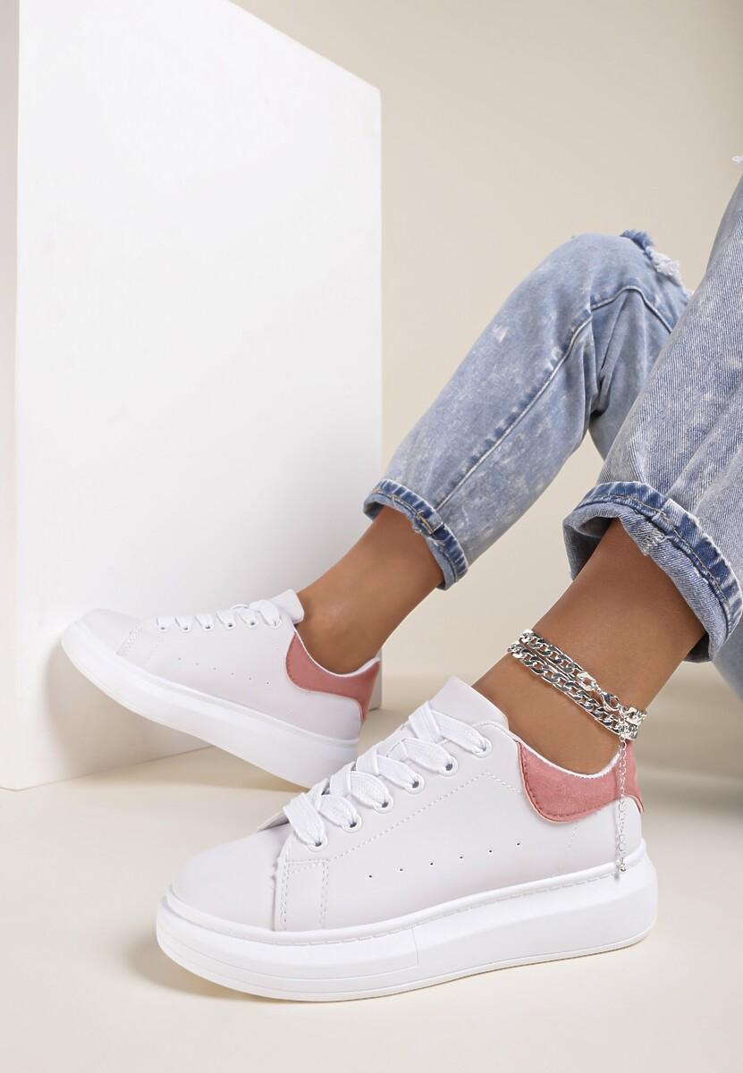Biało-Różowe Sneakersy Sylilise