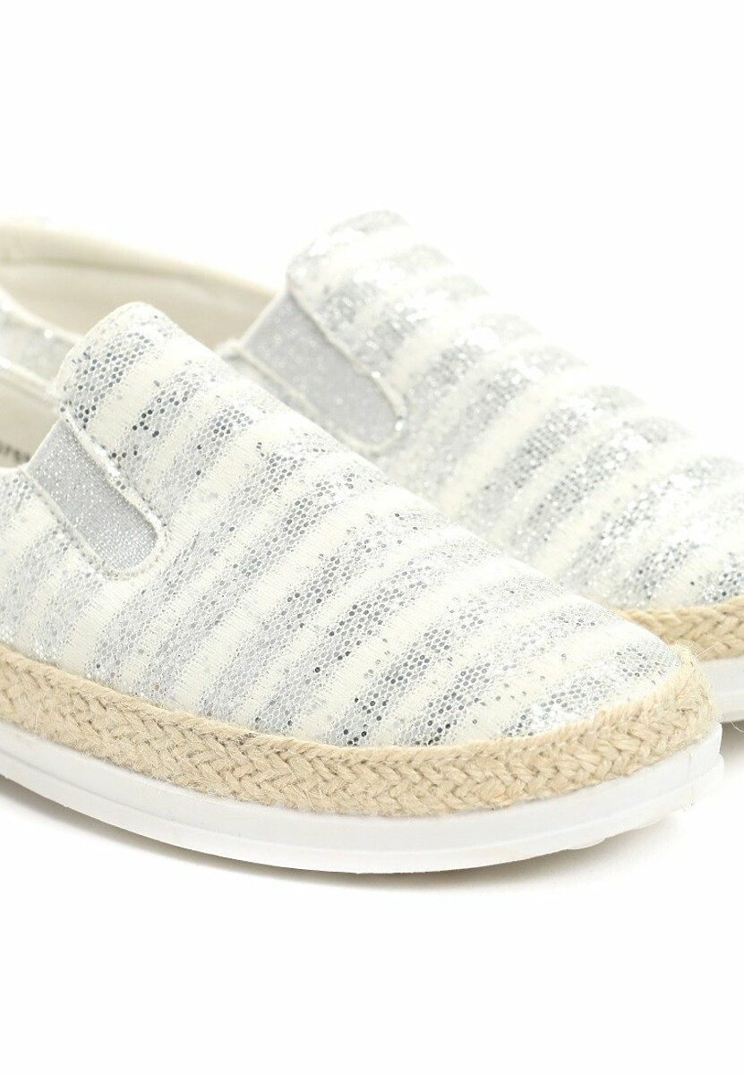 Srebrne Espadryle Stripes