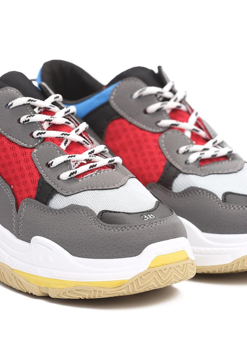 Ciemnoszaro-Czerwone Sneakersy Wonderwall