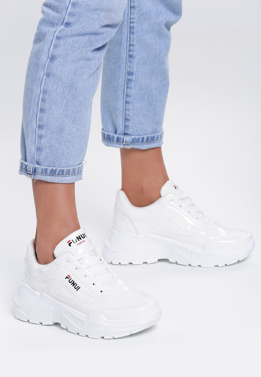 Białe Lakierowane Sneakersy Symbol