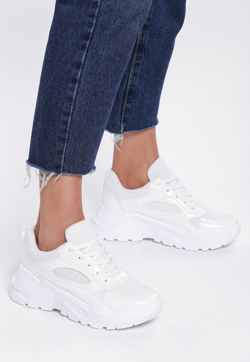 Białe Lakierowene Sneakersy Wire