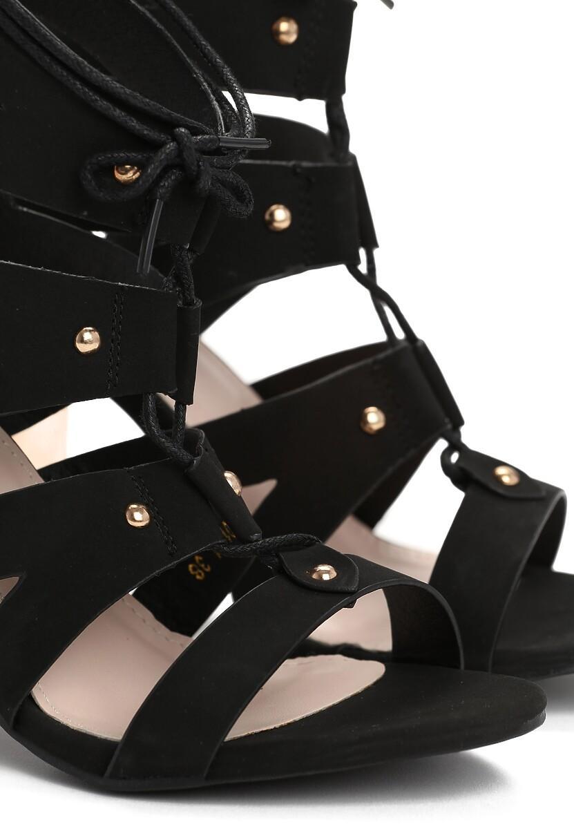 Czarne Sandały Fuchsia
