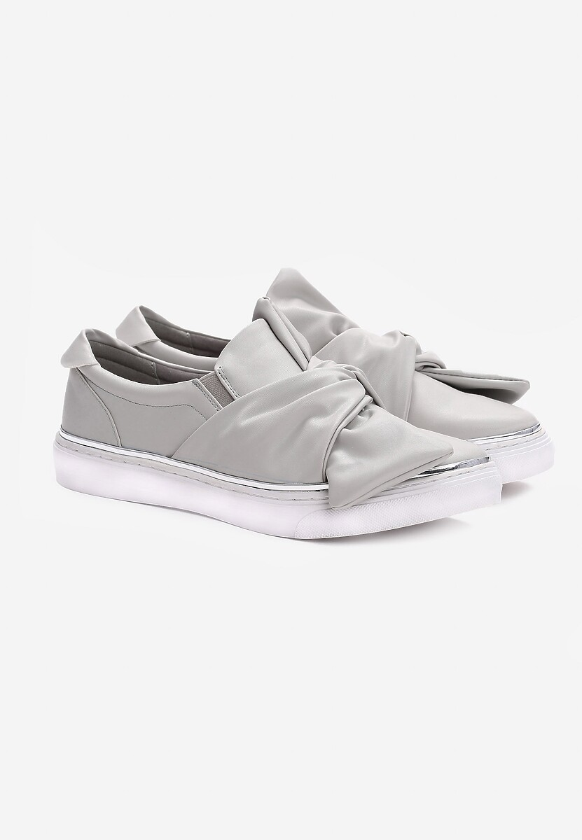 Szare Slip On Dotted Swiss