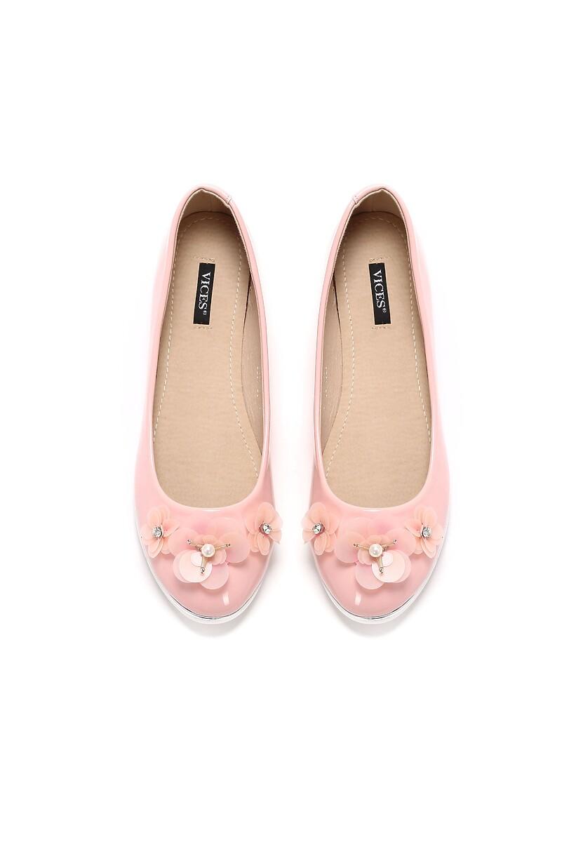 Różowe Balerinki Palmette
