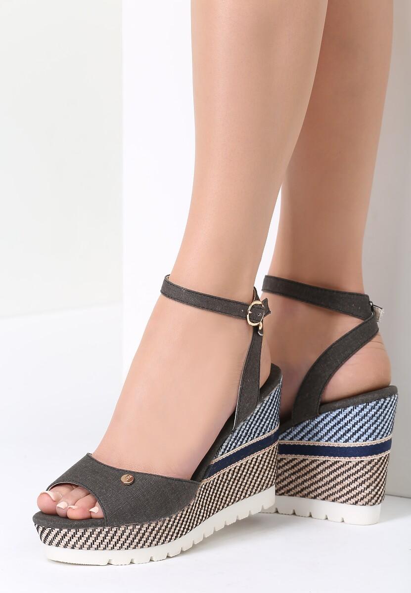 Czarne Sandały Glen Check