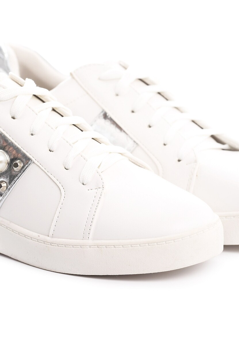 Biało-Srebrne Buty Sportowe Sweet Mango