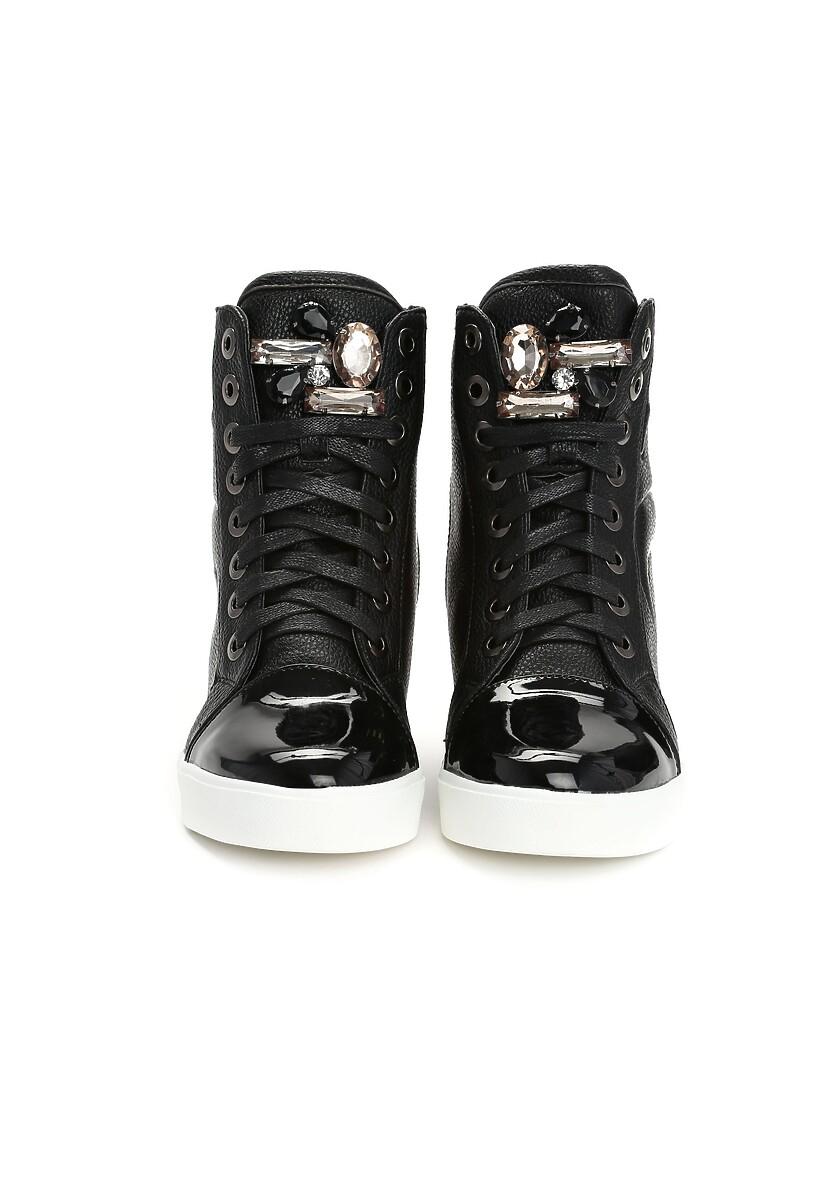 Czarne Sneakersy Maroon
