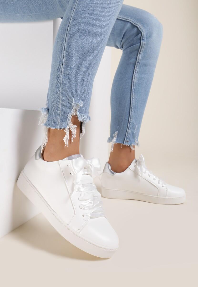 Biało-Srebrne Sneakersy Murmurous