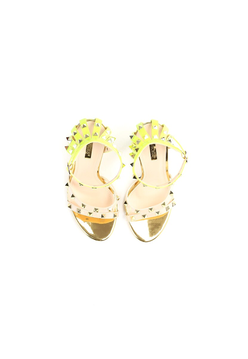 Beżowo-Zielone Neonowe Sandały Exemplary