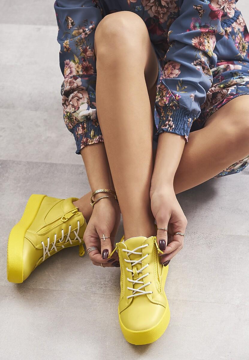 Żółte Neonowe Sneakersy Let It Go