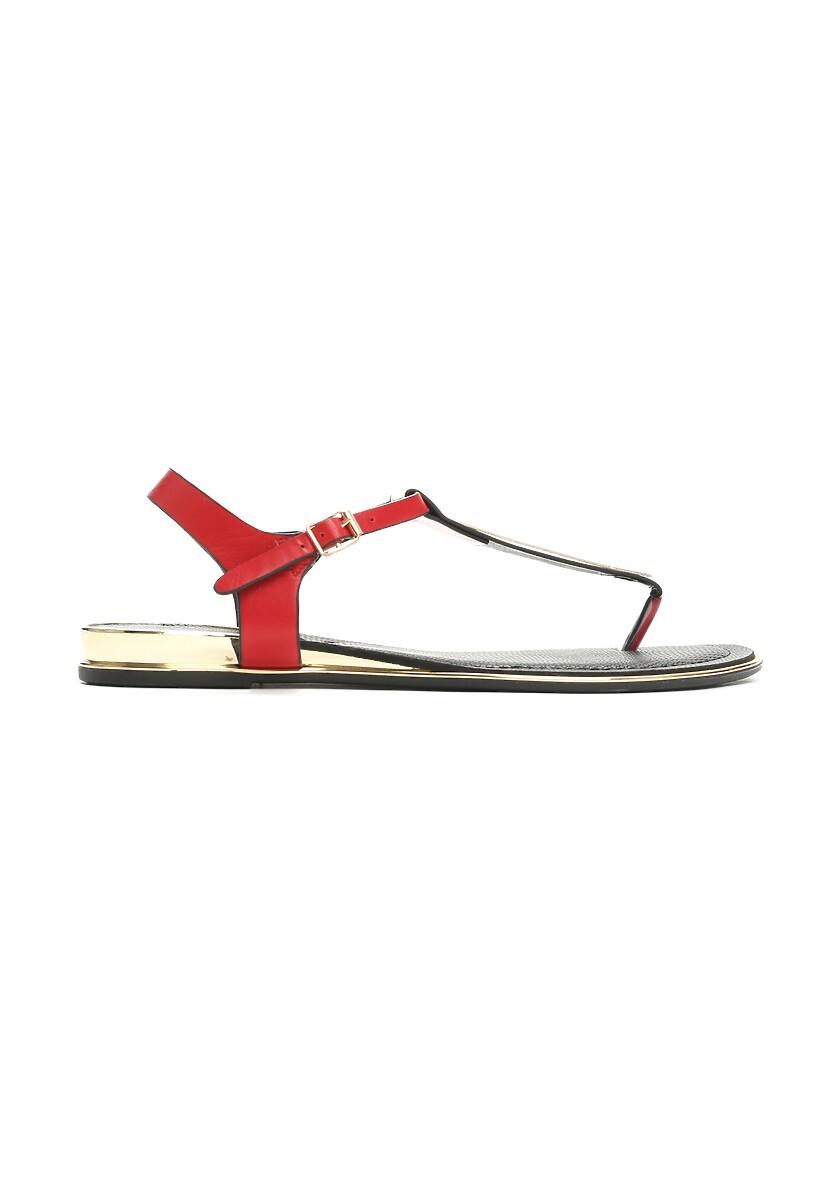 Czerwone Sandały Unruffled