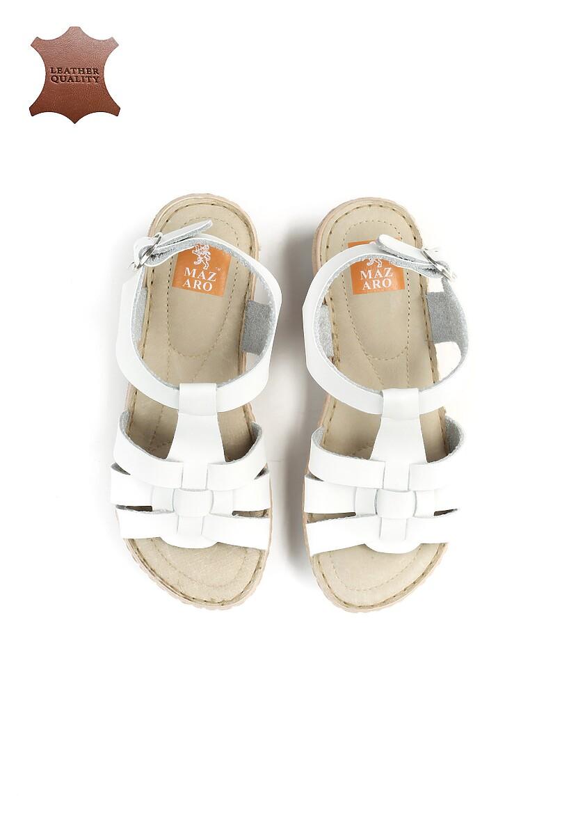 Białe Skórzane Sandały Roar
