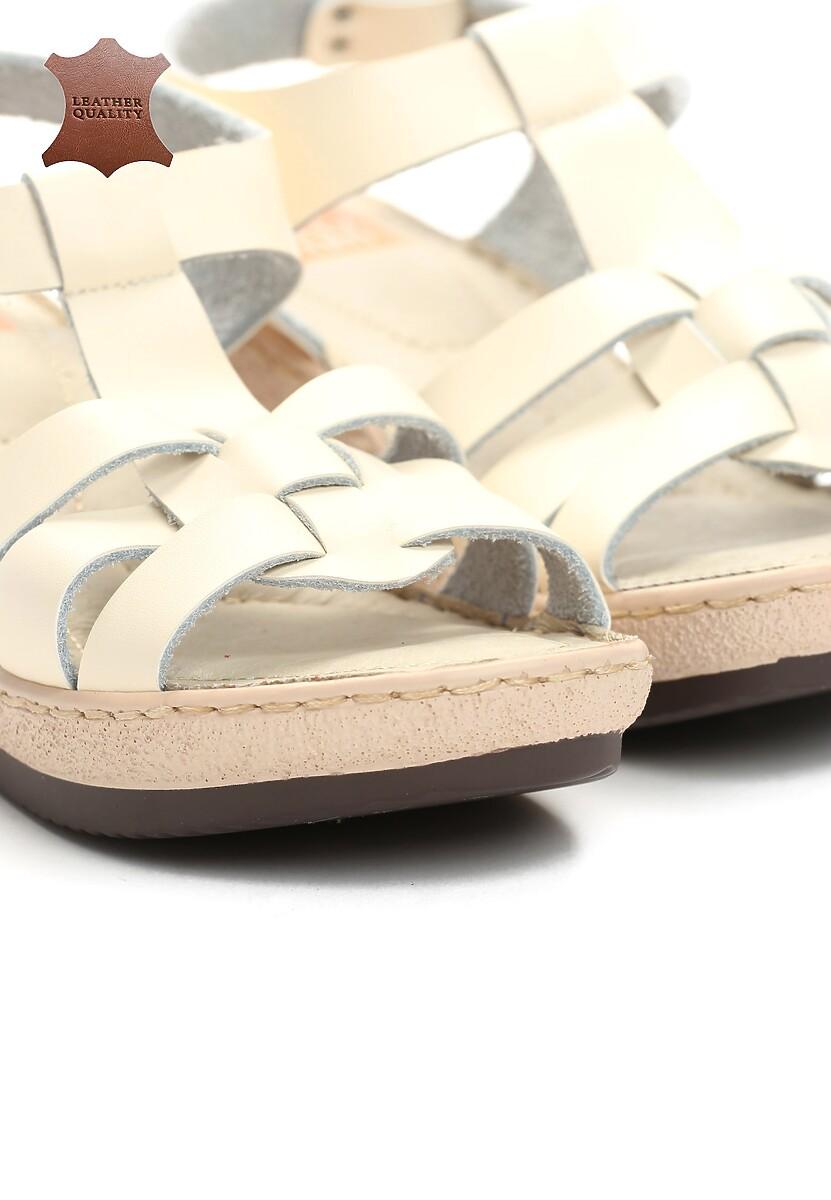 Beżowe Skórzane Sandały Roar