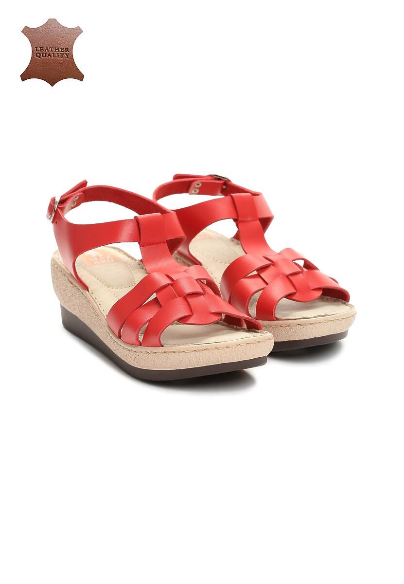 Czerwone Skórzane Sandały Roar