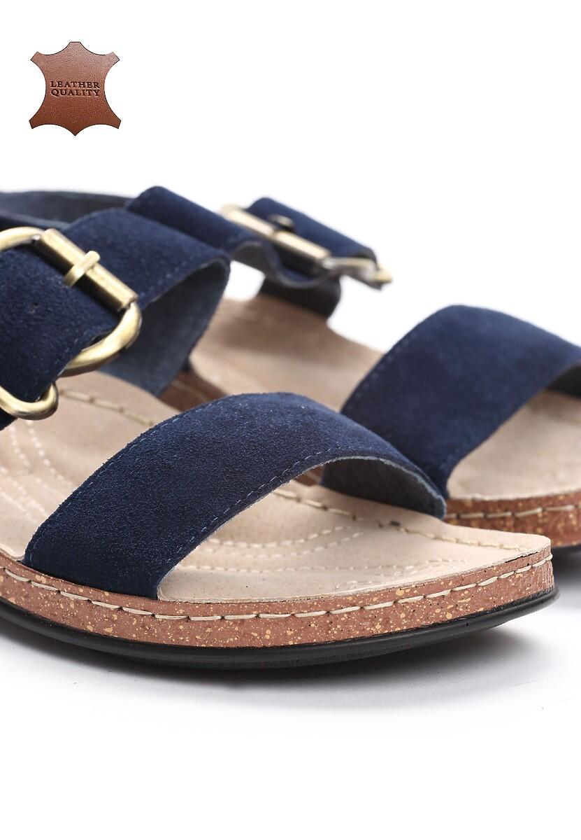 Niebieskie Skórzane Sandały The Village