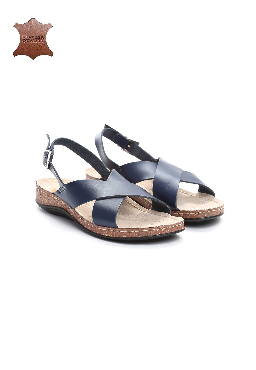 Granatowe Skórzane Sandały Bad Embrace