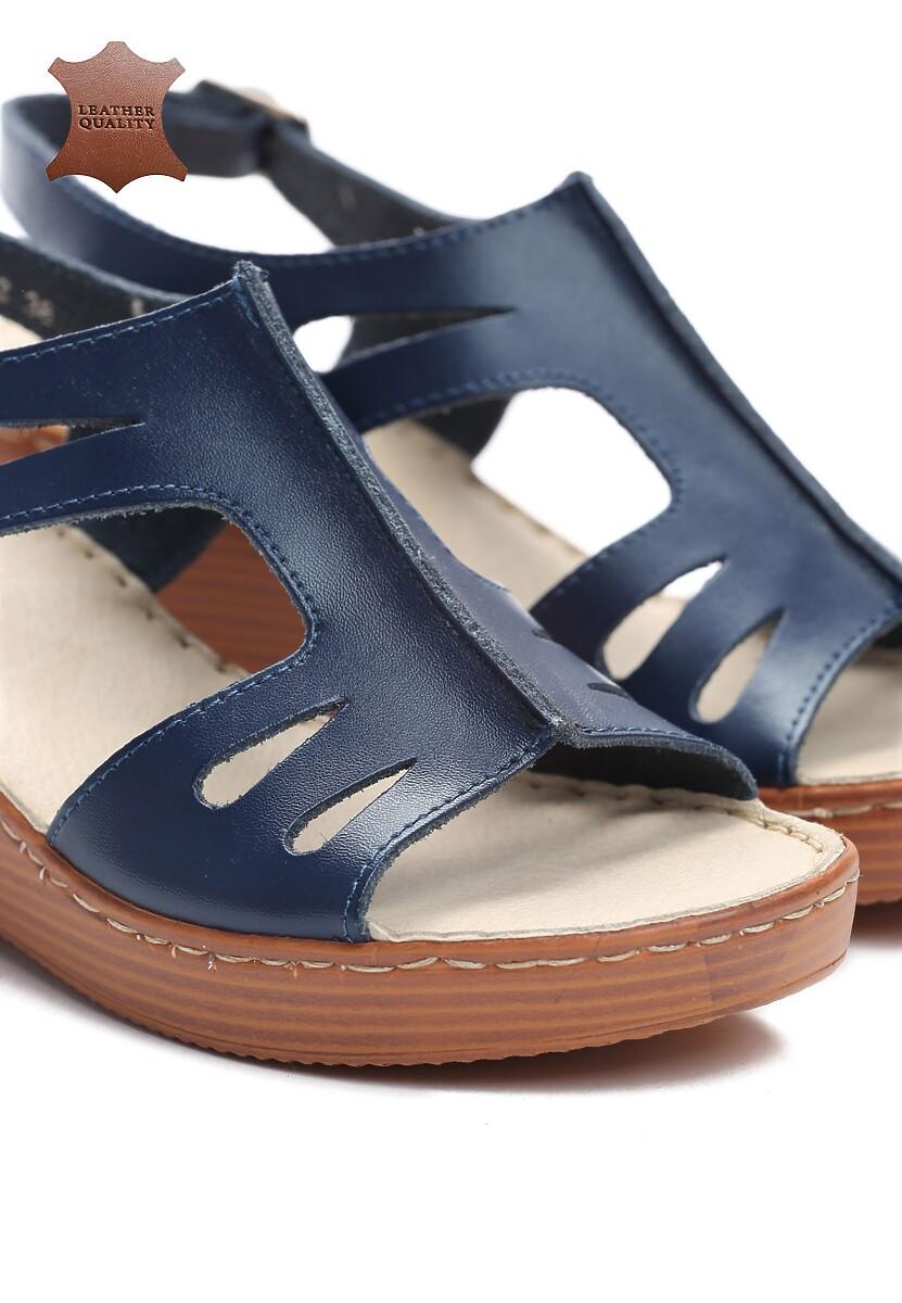 Niebieskie Skórzane Sandały Chasing Fire
