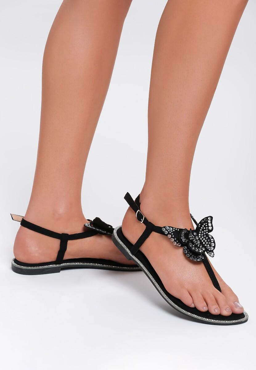 Czarne Sandały Flashy Pink