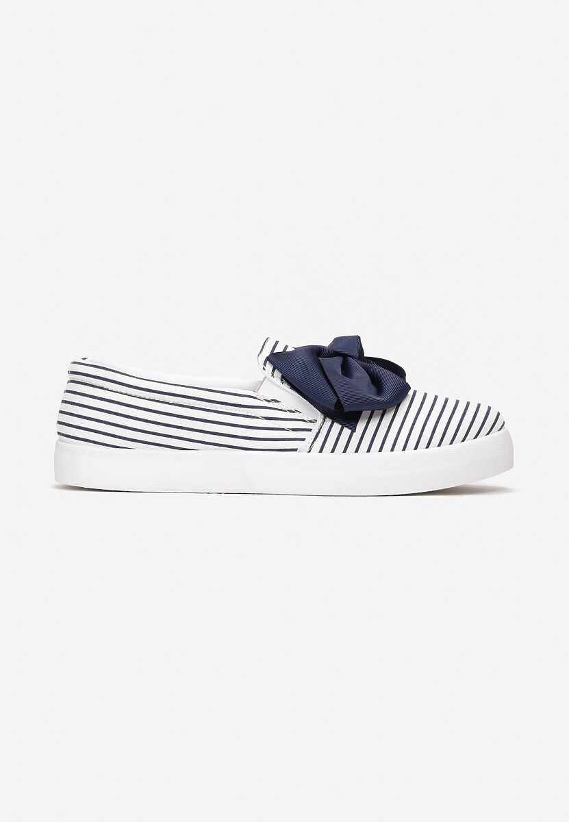 Białe Slip On Stop Crying
