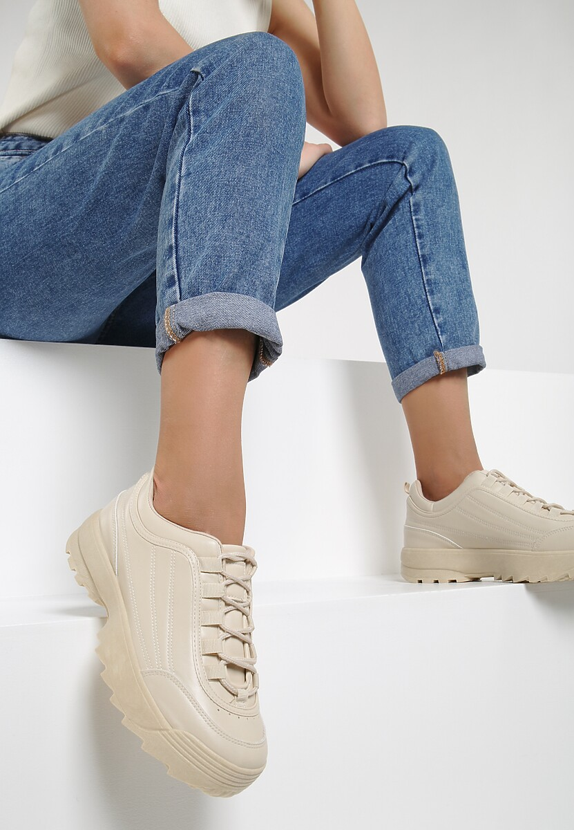Beżowe Sneakersy Gratia