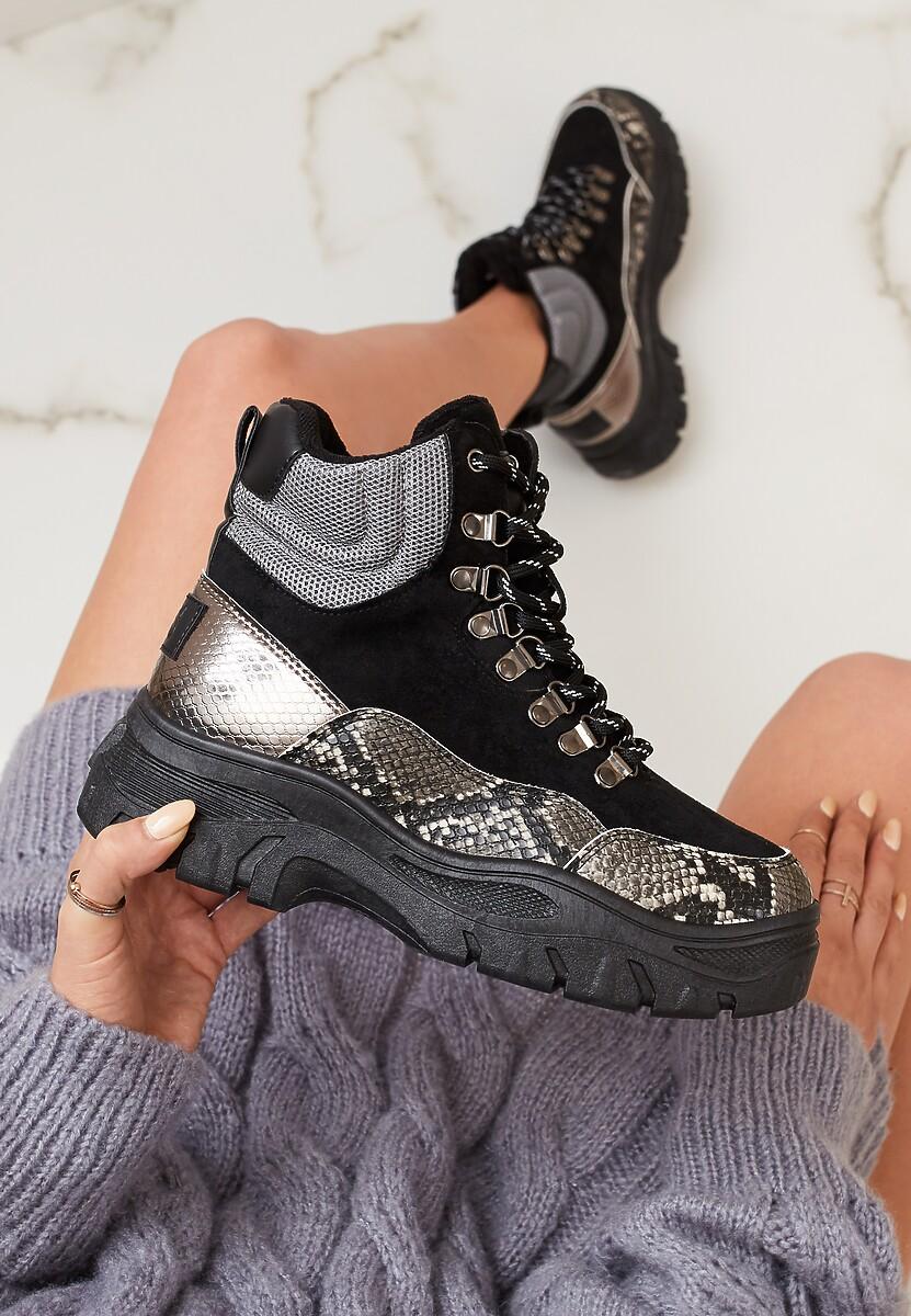 Czarne Wężowe Sneakersy Calanque