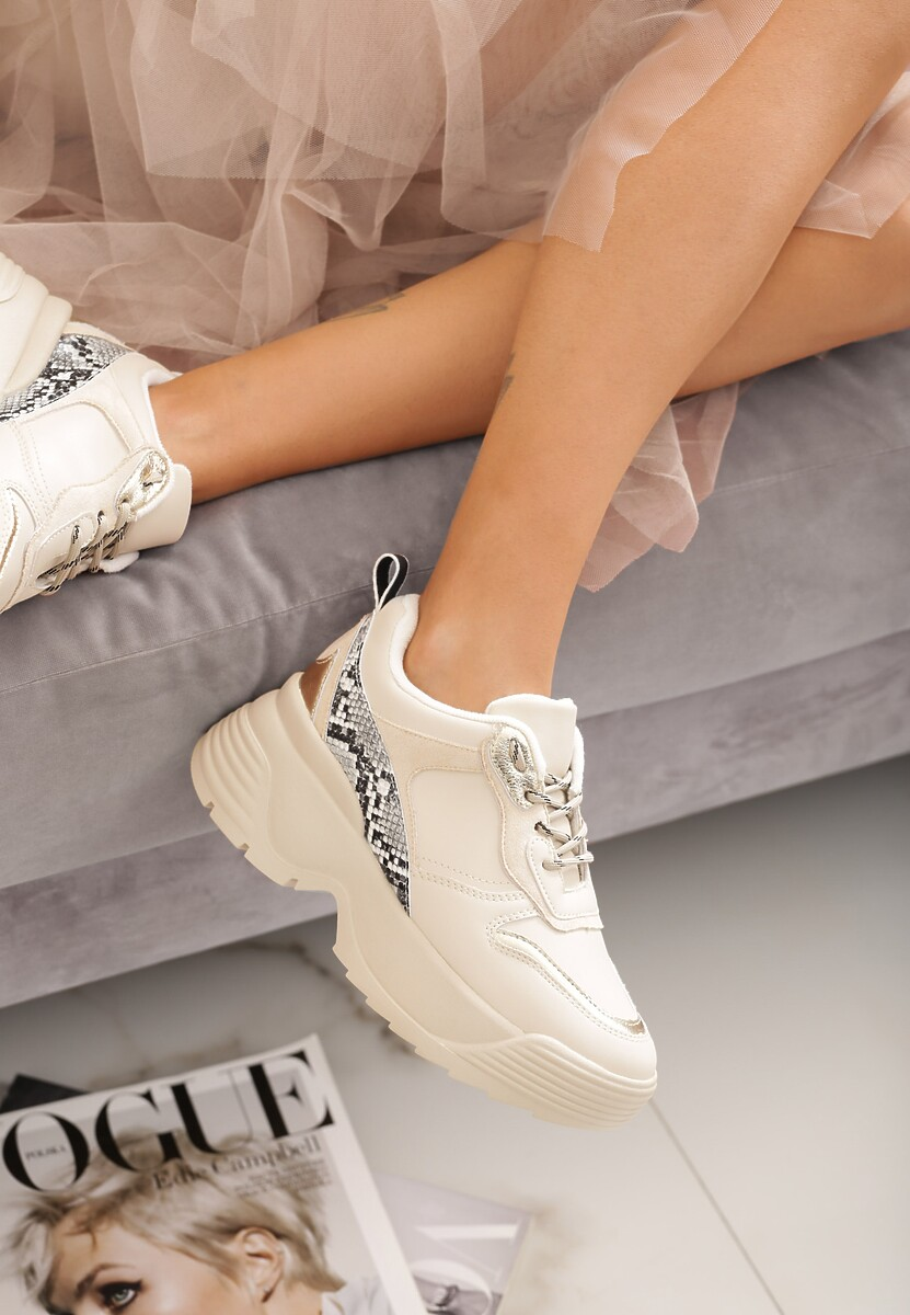 Beżowe Sneakersy Maren