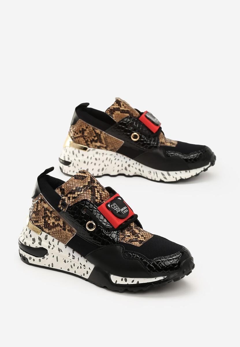 Czarne Wężowe Sneakersy Million Reasons