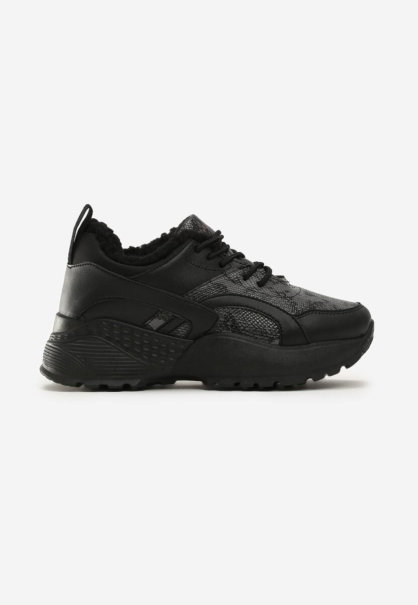 Czarne Wężowe Sneakersy Underwood
