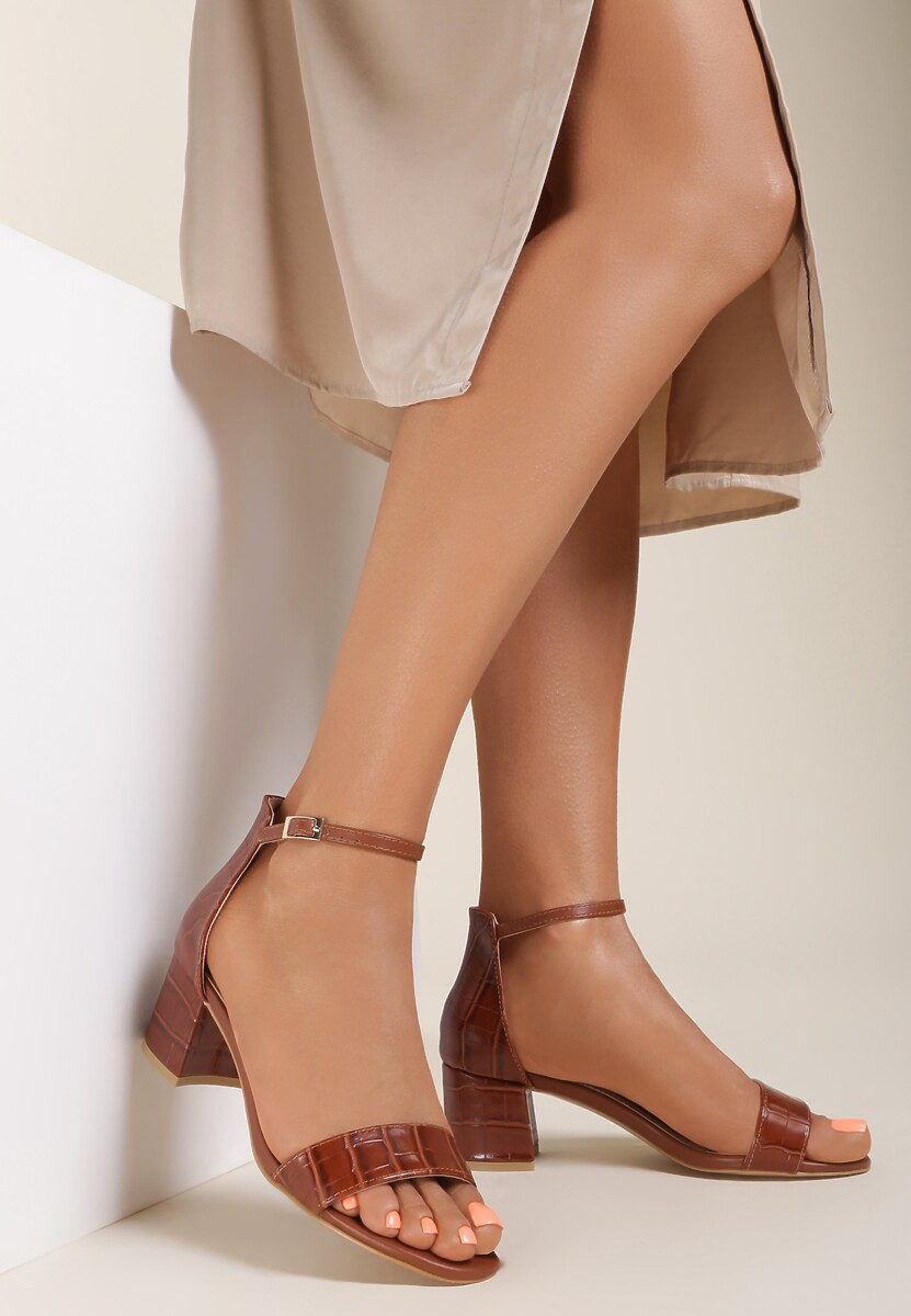 Brązowe Sandały Geniciane