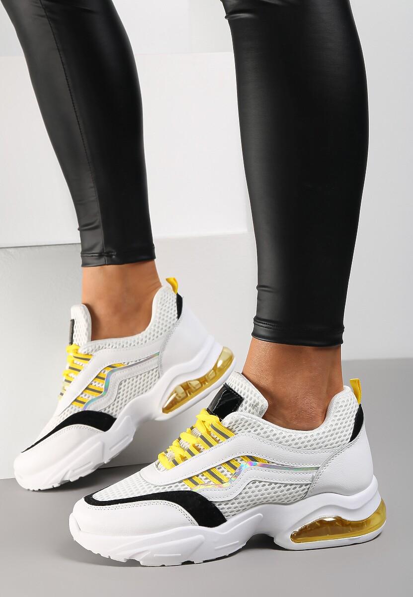 Biało-Żółte Sneakersy Glossiness