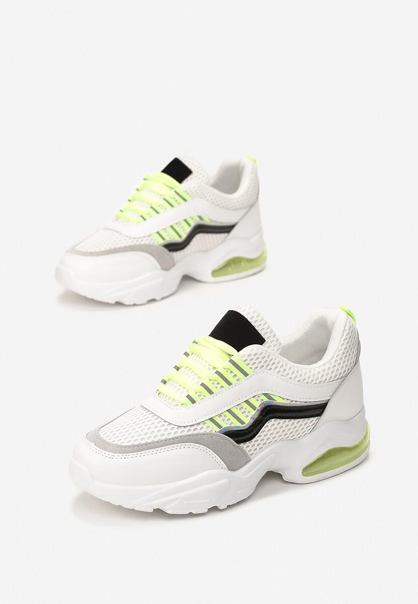 Biało-Limonkowe Sneakersy Glossiness