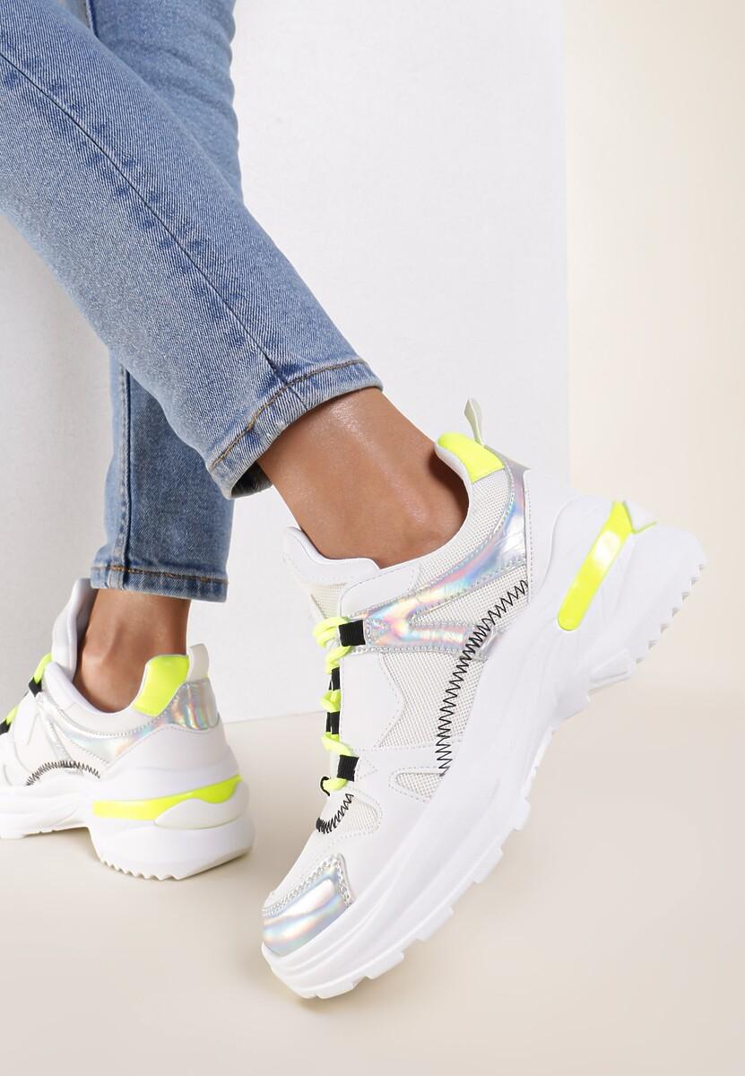 Biało-Limonkowe Sneakersy Noonhold