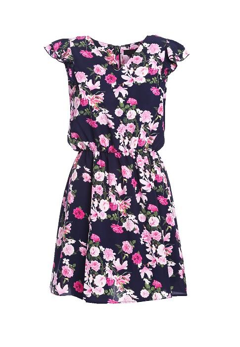 Granatowo Rozowa Sukienka Posses