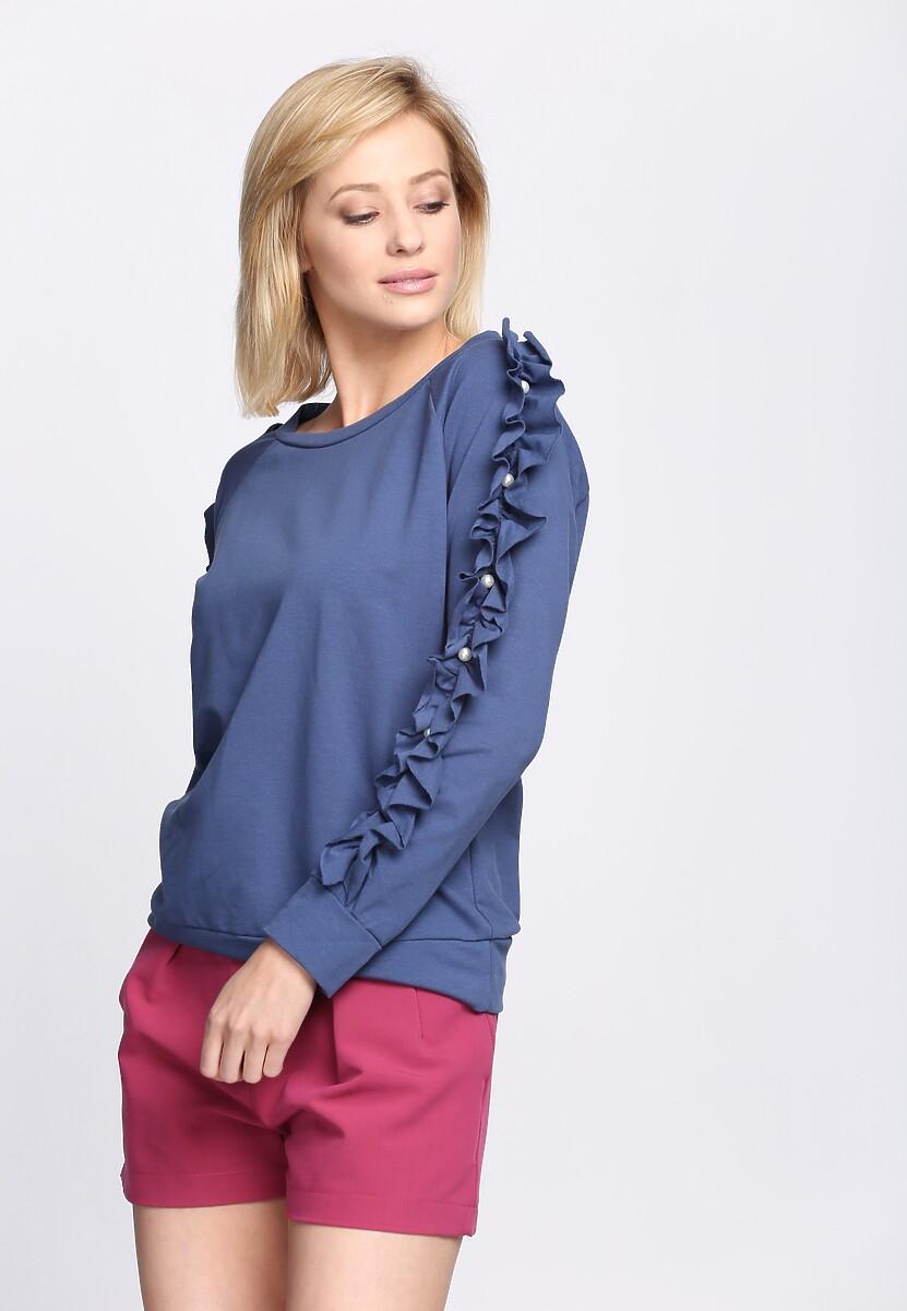 Niebieska Bluza Fancy Sleeves