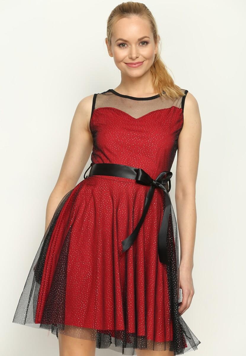 Bordowa Sukienka Sheer
