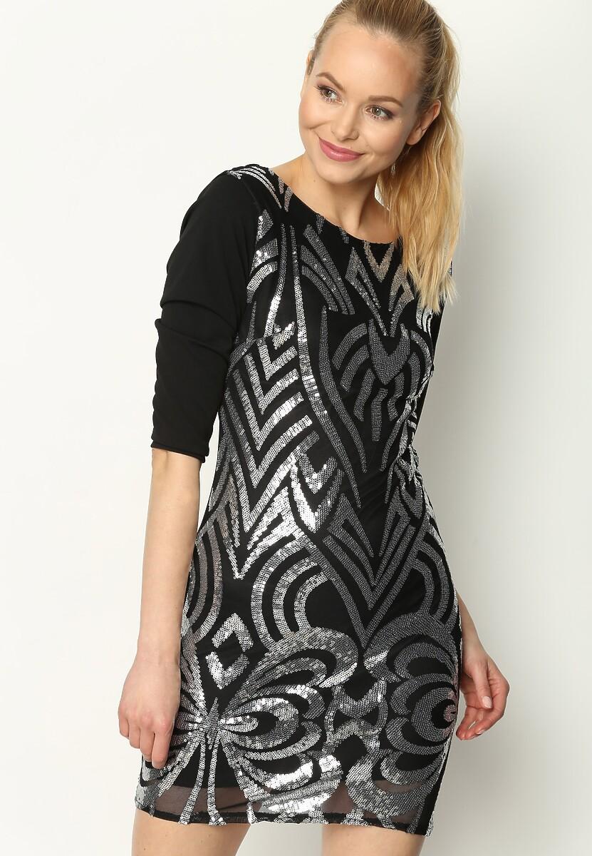 Czarno-Srebrna Sukienka Look Alive