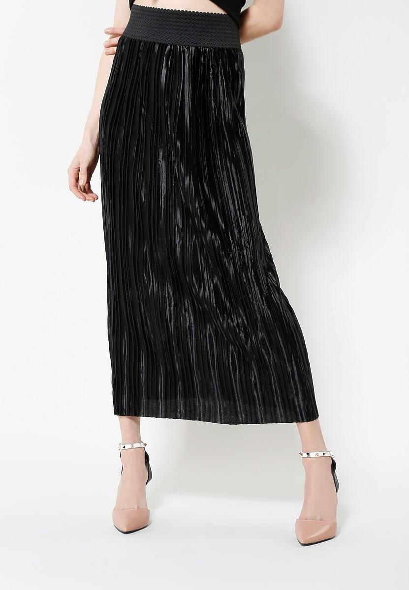 Czarna Spódnica Pleated Satin
