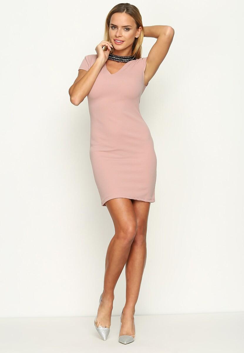 Różowa Sukienka Beaded Collar