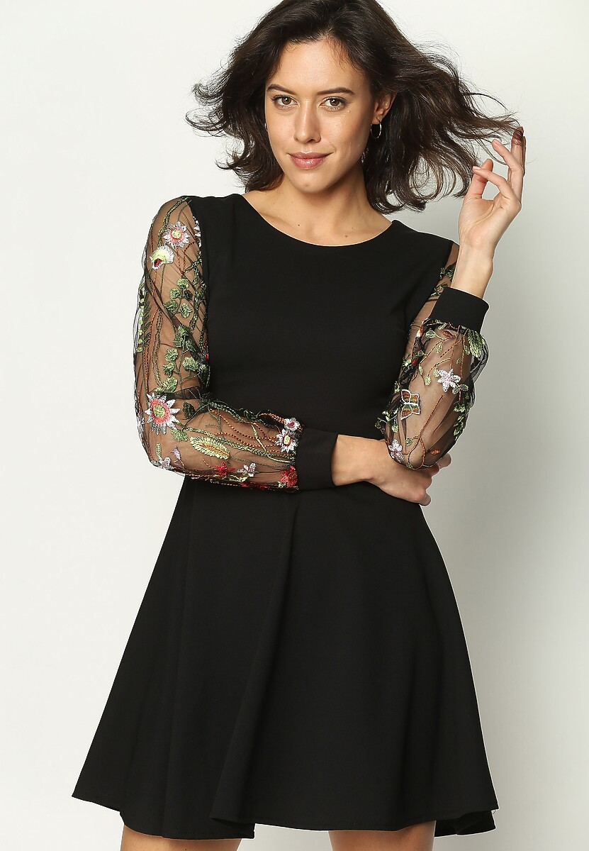 Czarna Sukienka Floral Sleeves
