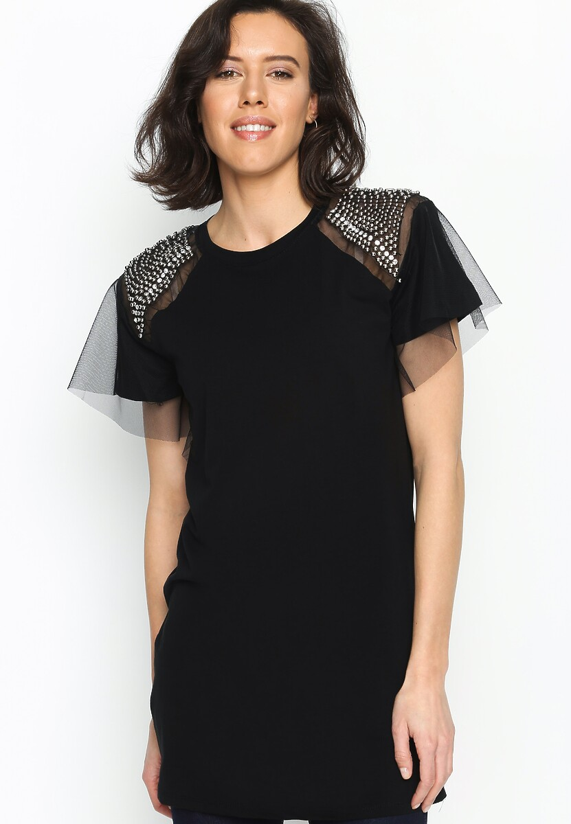Czarna Bluzka Shoulder Diamante