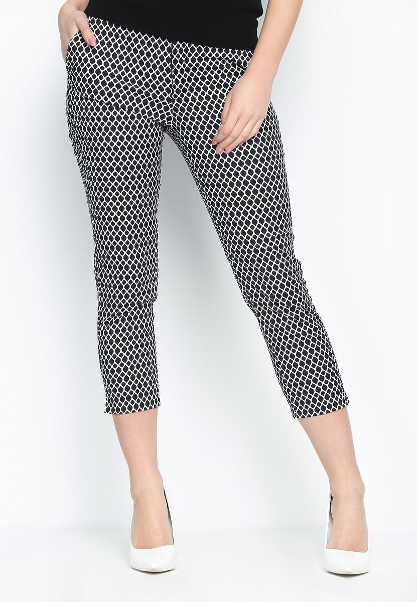 Czarno-Białe Spodnie Geometrically